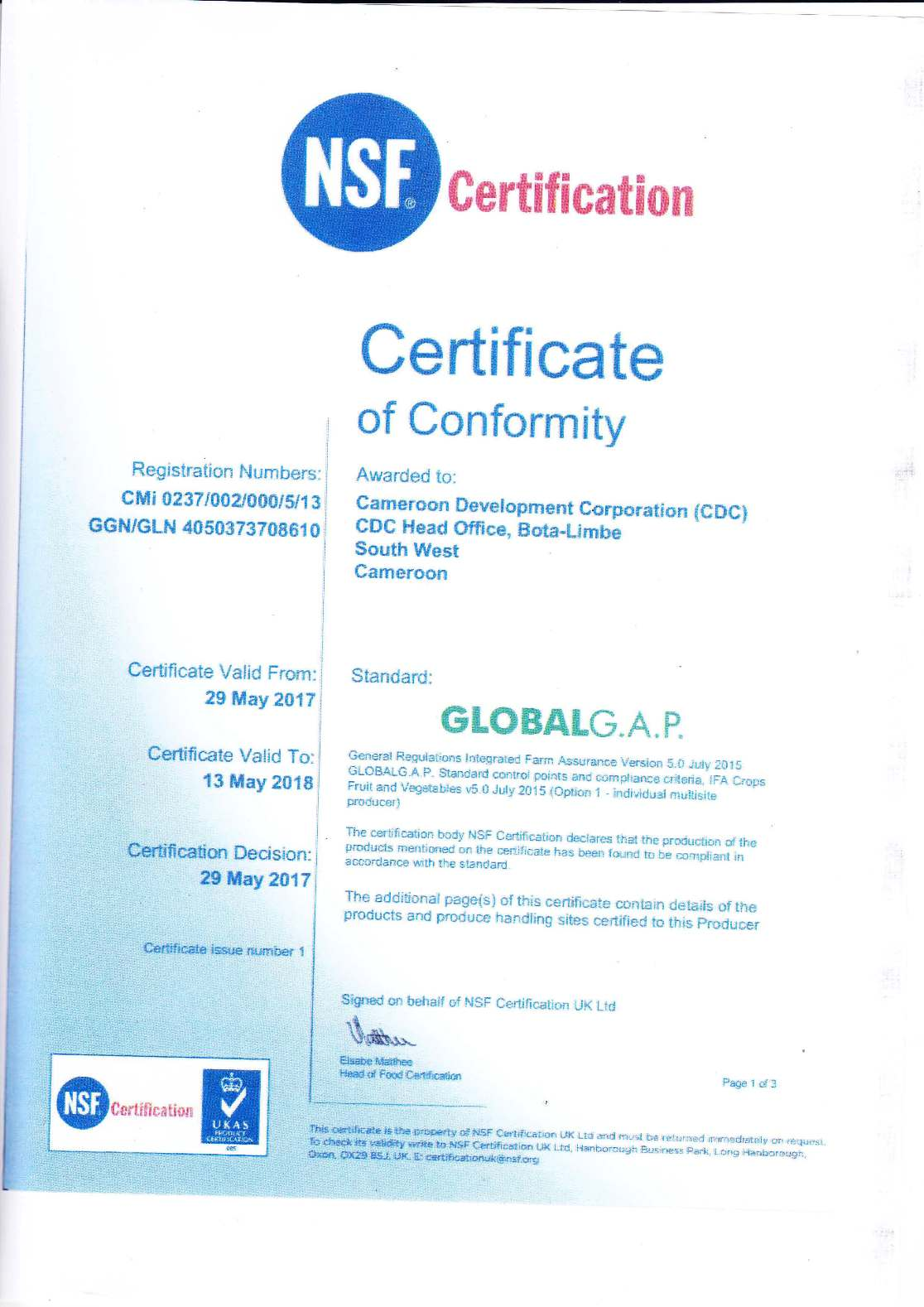 Certificates | Cameroon Development Corporation