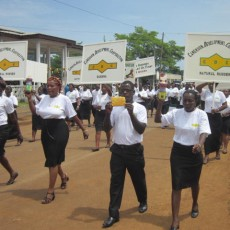 workers marching and exhibiting products